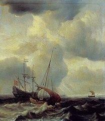 A Dutch Warship on a Rough Sea