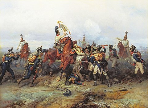 Capture of a French regiment's eagle by the cavalry of the Russian guard, by Bogdan Willewalde (1884) Willewalde - Czar's Guard capture 4th line regiment's standard at Austerlitz.jpg