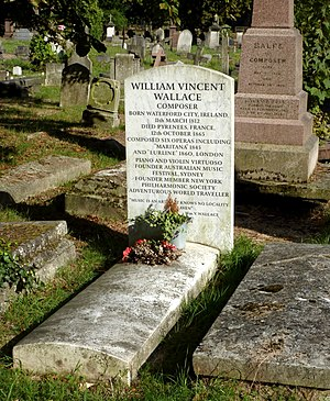 William Vincent Wallace - Wallace's grave at Kensal Green Cemetery, London, in 2014; visible behind it is Balfe's grave