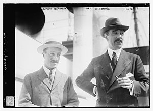 Ivor Guest, 1st Viscount Wimborne - Hernando Fitz-James Stuart, 14th Duke of Peñaranda de Duero and Lord Wimborne on 4 June 1914 in New York City for the 1914 Westchester Cup
