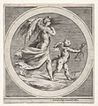 Winged female figure, draped and carrying a staff, striding behind a winged putto, who twists to look over his left shoulder, a round composition MET DP832088.jpg