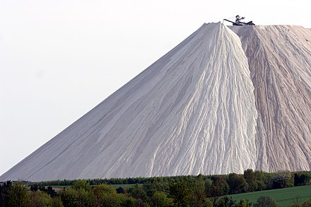 Monte Kali, a potash mining and beneficiation waste heap in Hesse, Germany, consisting mostly of sodium chloride. Wintershall Monte Kali 12.jpg