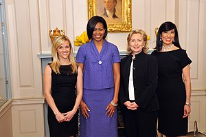 Andrea Jung - Andrea Jung (far right) with Reese Witherspoon, Michelle Obama, and Hillary Clinton at the International Women of Courage Awards, 10 March 2010.