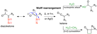Wolff rearrangement - The Wolff rearrangement and subsequent trapping of the ketene intermediate with a weak acid or olefin.