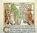 Woodcut illustration of Clytemnestra and Aegisthus murdering Agamemnon and their subsequent deaths at the hand of Orestes - Penn Provenance Project.jpg