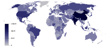 Map of the world showing population density by country.  Darker shades show countries with higher population density.