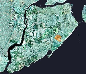 New Dorp, Staten Island - The approximate area of the neighborhood of New Dorp on Staten Island is shown highlighted in orange.