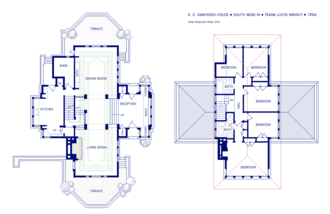 K. C. DeRhodes House - First and second floor plan