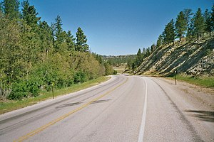Wyoming Highway 24 - Wyoming Highway 24 northbound toward Devil's Tower