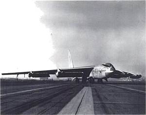 Crosswind landing - XB-52 performing a crab landing having nose pointed toward incoming wind, but undercarriage aligned along the runway