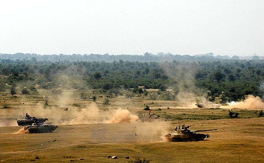 Indian Army's tanks and infantry vehicles during an exercise. Yudh Abhyas-09 T-90.JPG