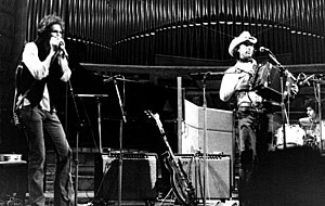 """Zachary Richard - Zachary Richard (at right) and the """"Bayou des mystères"""" in Paris, 1976"""
