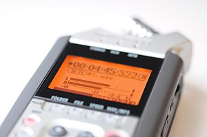 Digital audio - Audio levels display on a digital audio recorder (Zoom H4n)