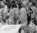 """Go Mo"" (Morris Udall) balloons and a Keep Abortion Legal sign (with a Morris Udall sign behind it) at 1976 DNC.jpg"