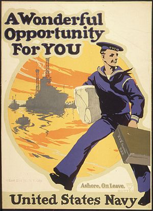 Shore leave - World War I-era recruitment poster promoting shore leave.