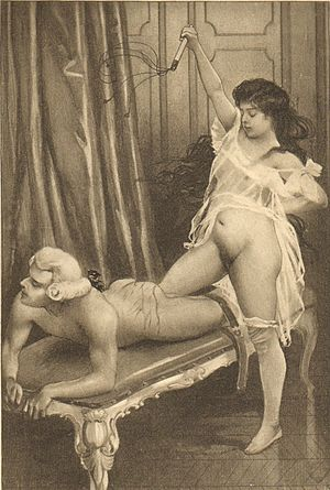Sadism and masochism in fiction - Flagellation in Fanny Hill illustrated by Édouard-Henri Avril.