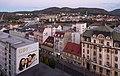 Ústí nad Labem, straatzicht Mírové Náměstí naar oosten vanaf Interhotel Bohemia IMG 7659 2018-08-11 20.48.jpg