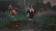 Иван Купала.Гадание на венках.2008.Доска,масло150х85 см