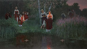 Kupala Night - Simon Kozhin. Kupala Night, Divination on the Wreaths.