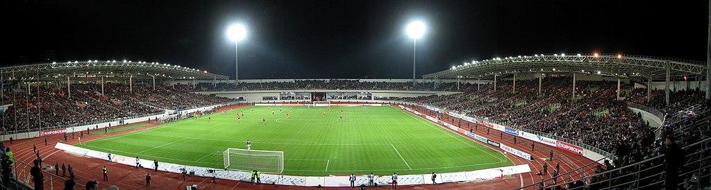 Панорама стадиона во время
