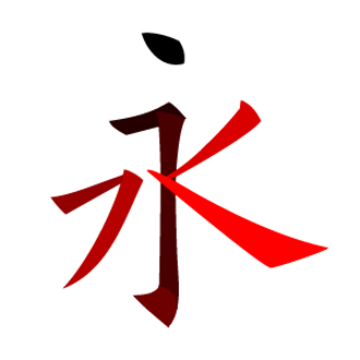 Stroke (CJKV character) - 永, a Chinese character with a high variety of strokes.