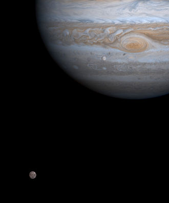 Callisto (moon) - Callisto (bottom left), Jupiter (top right) and Europa (below and left of Jupiter's Great Red Spot) as viewed by Cassini–Huygens