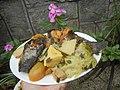 0099Nilagang repolyo, petsay Tagalog, kamote, patatas, kamatis at Pritong Dalag (Bulig) sa tanglad 06.jpg