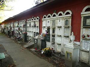 Novodevichy Cemetery - The cemetery wall is used as a columbarium.