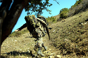"Georgian–Ossetian conflict - Men from elite 13th ""Shavnabada"" Light Infantry Battalion of the Georgian Army charging up a hill where Ossetian rebels were entrenched."
