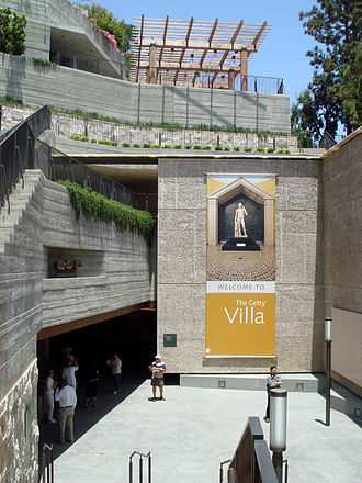 Getty Villa - The entrance to the Getty Villa sets the tone of entering an archaeological dig.
