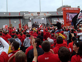 2007 Nebraska Cornhuskers football team - ESPN College GameDay: Cornhusker fans react negatively to Lee Corso's decision to pick USC to win the game; as per tradition, he dons the gear of the team he picks.