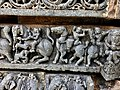 13th century Keshava Hindu temple relief with tabla-like musical instrument being played on a horse, Somanathpur India.jpg