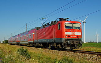 Stralsund–Rostock railway - Class 143 with double-deck carriages near Ribnitz-Damgarten Ost