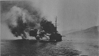 National Schism - The French battleship Mirabeau bombarding Athens during the November events.