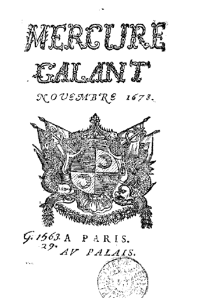 Galant style - November 1678, first issue of the Mercure Galant