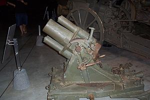 17 cm mittlerer Minenwerfer - The n/A model (with long barrel), at the Australian War Memorial, Canberra