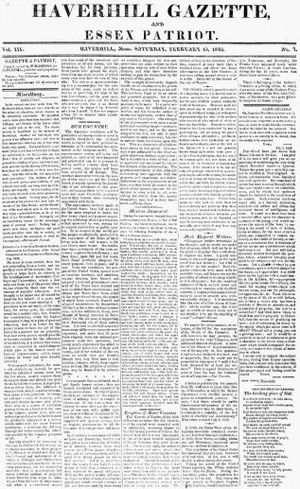 Haverhill Gazette - Haverhill Gazette and Essex Patriot, 1823 (American Antiquarian Society)