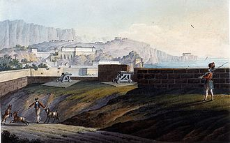 Victualling Yard, Gibraltar - The Naval Stores at Rosia Bay in 1827 by Thomas Staunton St. Clair.