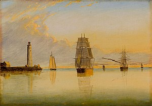 Boston Light - Morning Off Boston Light by Clement Drew, 1879