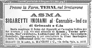 Puffery - 1881 Italian ad promising to stop the most violent attacks of asthma, nervous cough, colds, extinction of voice, facial neuralgia and insomnia, and to combat all laryngeal and respiratory ailments, just by inhaling the smoke of the Cannabis Indica Cigarillos.