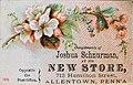 1882 - Joshua Schnurmans Store 1 - Trade Card - Allentown PA.jpg