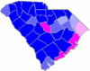 Blue counties were won by Evans and magenta counties were won by Pope