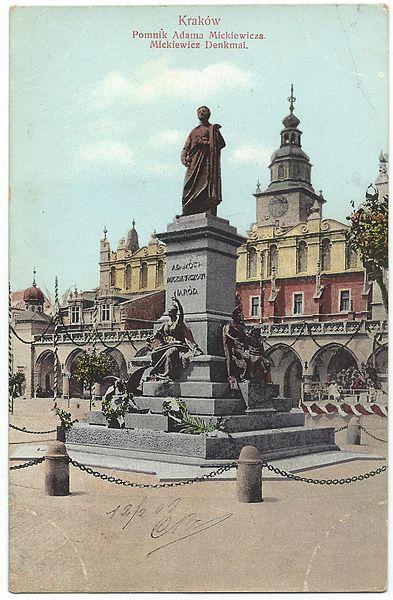 Statue de Mickiewicz sur le Rynek de Cracovie début 1900.