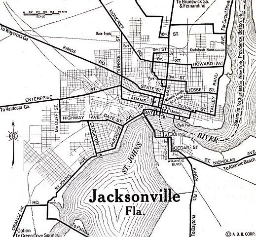 Map Jacksonville Florida.File 1920 Map Jacksonville Florida Automobile Blue Book Jpg