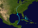 The track of a storm through the Gulf of Mexico that starts in the western Caribbean and heads north towards the U.S. Gulf Coast