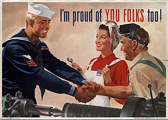 """Jon Whitcomb - """"I'm Proud of You Folks Too!"""", US Navy poster, 1944"""