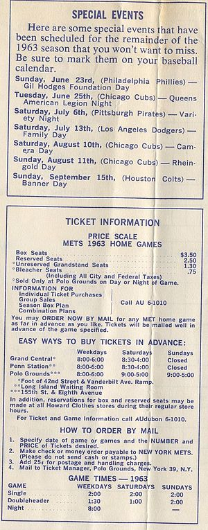 1963 New York Mets season - Advertisement for the 1963 Mets' ticket schedule, showing box seats for $3.50 and bleachers for $0.75.