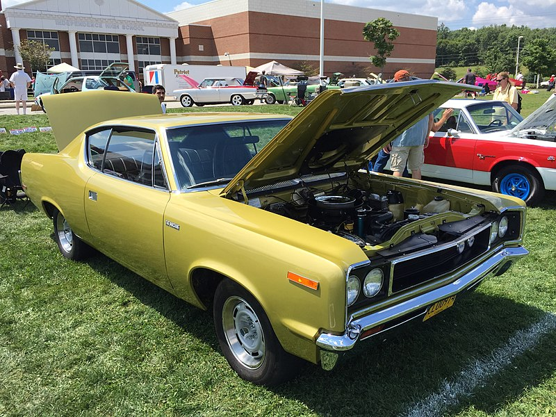 File:1970 AMC Rebel - The Machine - muscle car in Golden Lime AMO 2015 meet 2of8.jpg