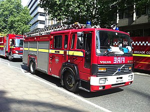 London Fire Brigade appliances - A 1995-registered Volvo dual-purpose pump/ladder