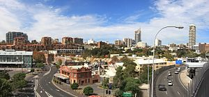 Woolloomooloo - Overlooking Woolloomooloo from the Domain Park, with the Bells Hotel (red brick building) in the foreground